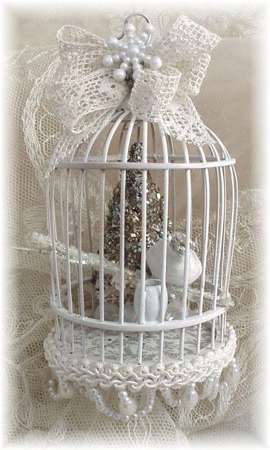 Trash To Treasure Art Bird Cage Decor Shabby Chic Christmas White Christmas Decor