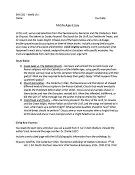 middle ages literature analysis essay  teacherspayteachers  this essay asks students to analyze ampquotthe decameronampquot by