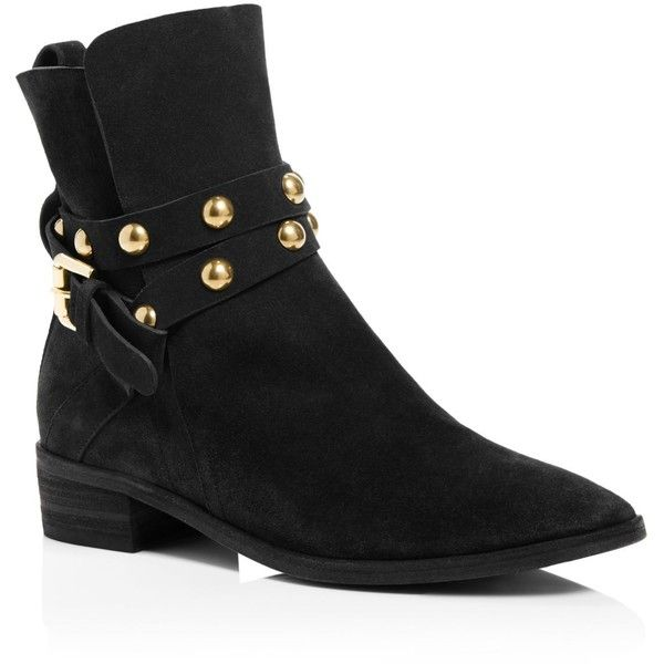 See By Chloe Women's Janis Suede Studded Strap Low Heel Booties - 100%...  ($445) ❤ liked on Polyvore featuring shoes, boots, ankle booties, black, …