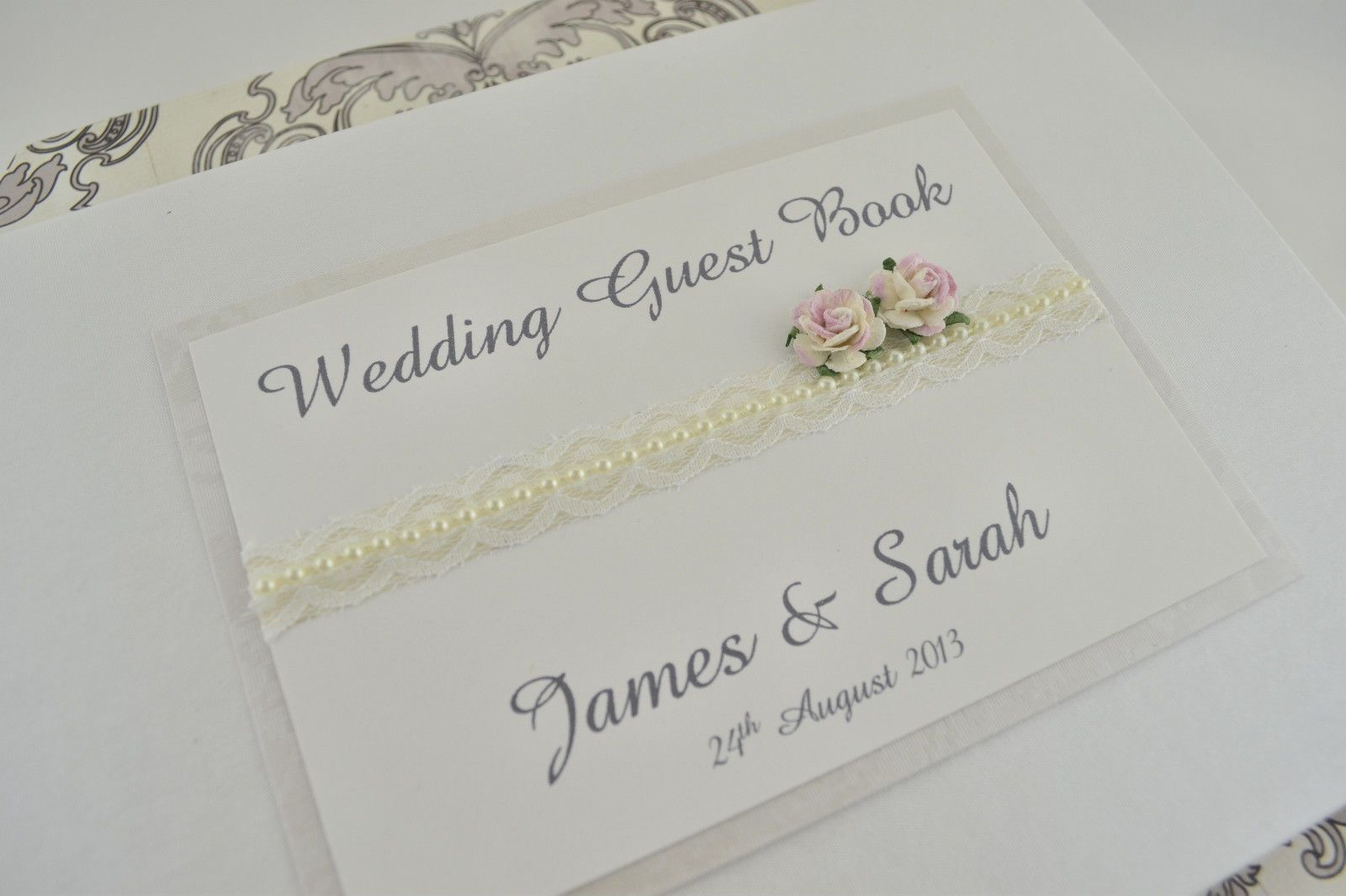 Ivory Pearl Lace & Roses Vintage Style Personalised Wedding Guest ...