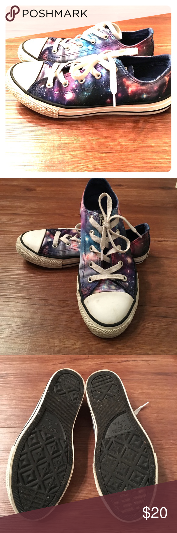 ef4db39ae45778 Space print Converse all stars low tops US youth size 3 or EUR size 35 Converse  All Star low tops with space print. I m usually a women s 6 and these fit  ...