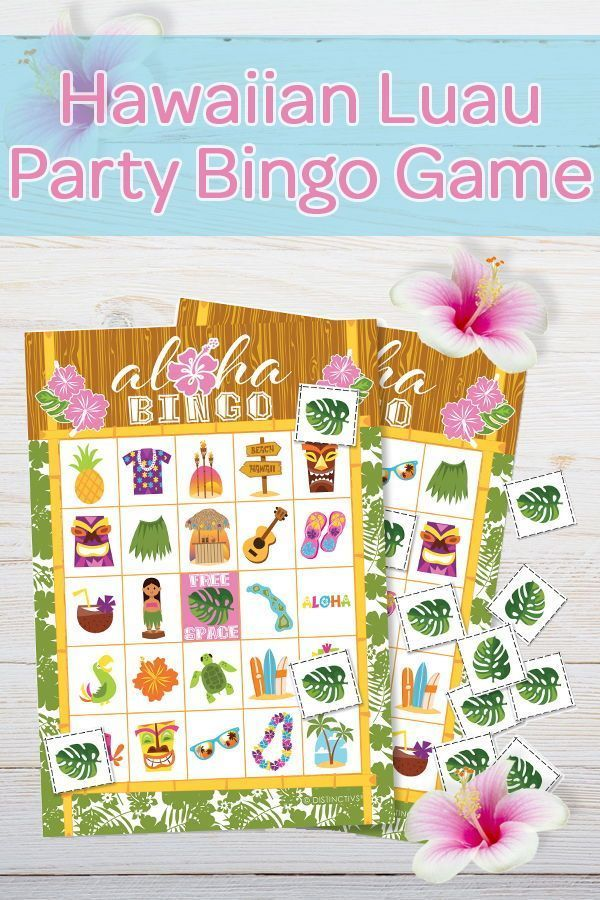Hawaiian Luau Party Bingo Game, 24 Players #hawaiianluauparty
