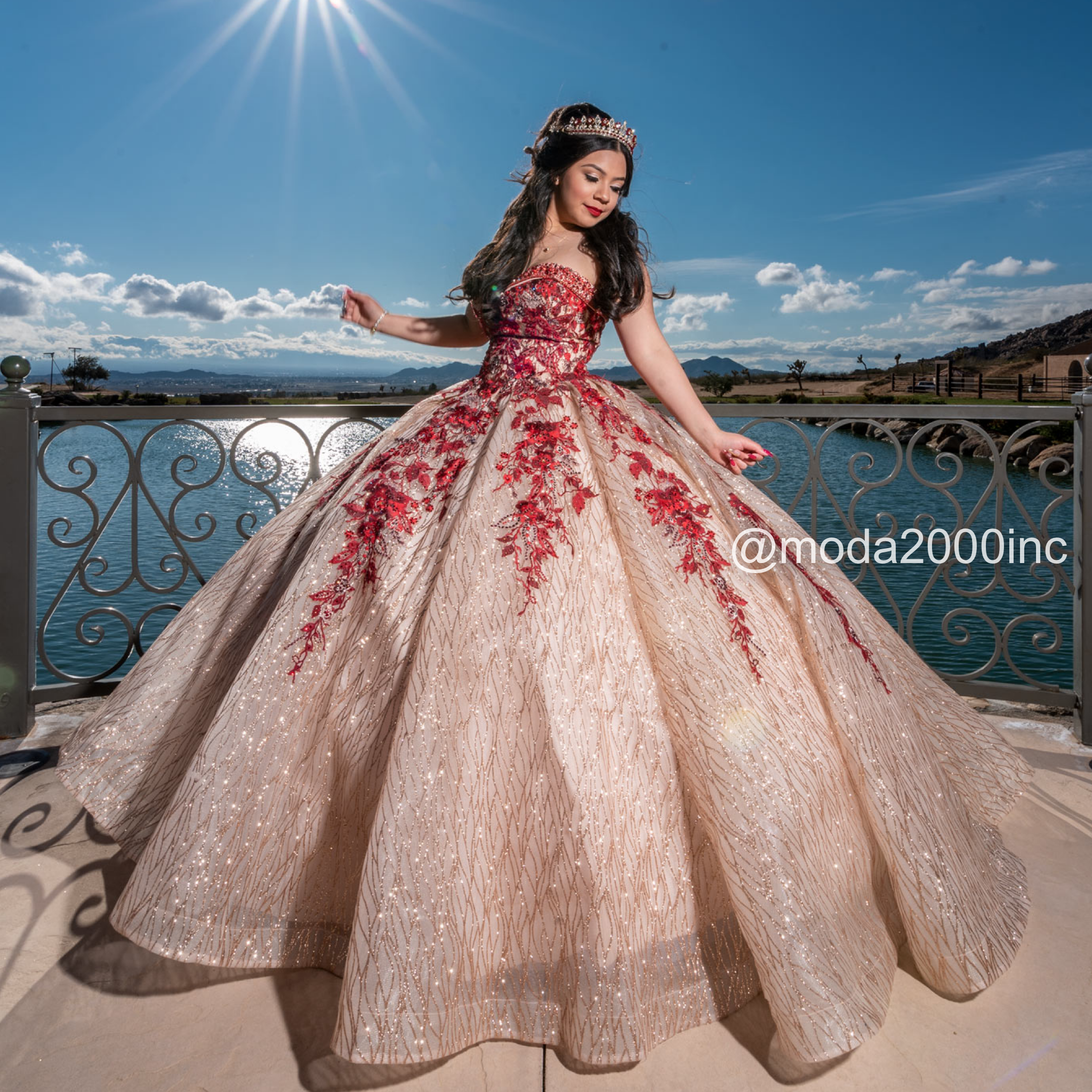 Pretty Glittery Rose Gold Dress With Red Rosses Quince Dresses Sweet 15 Dresses Quinceanera Dresses Pink [ 2048 x 2048 Pixel ]