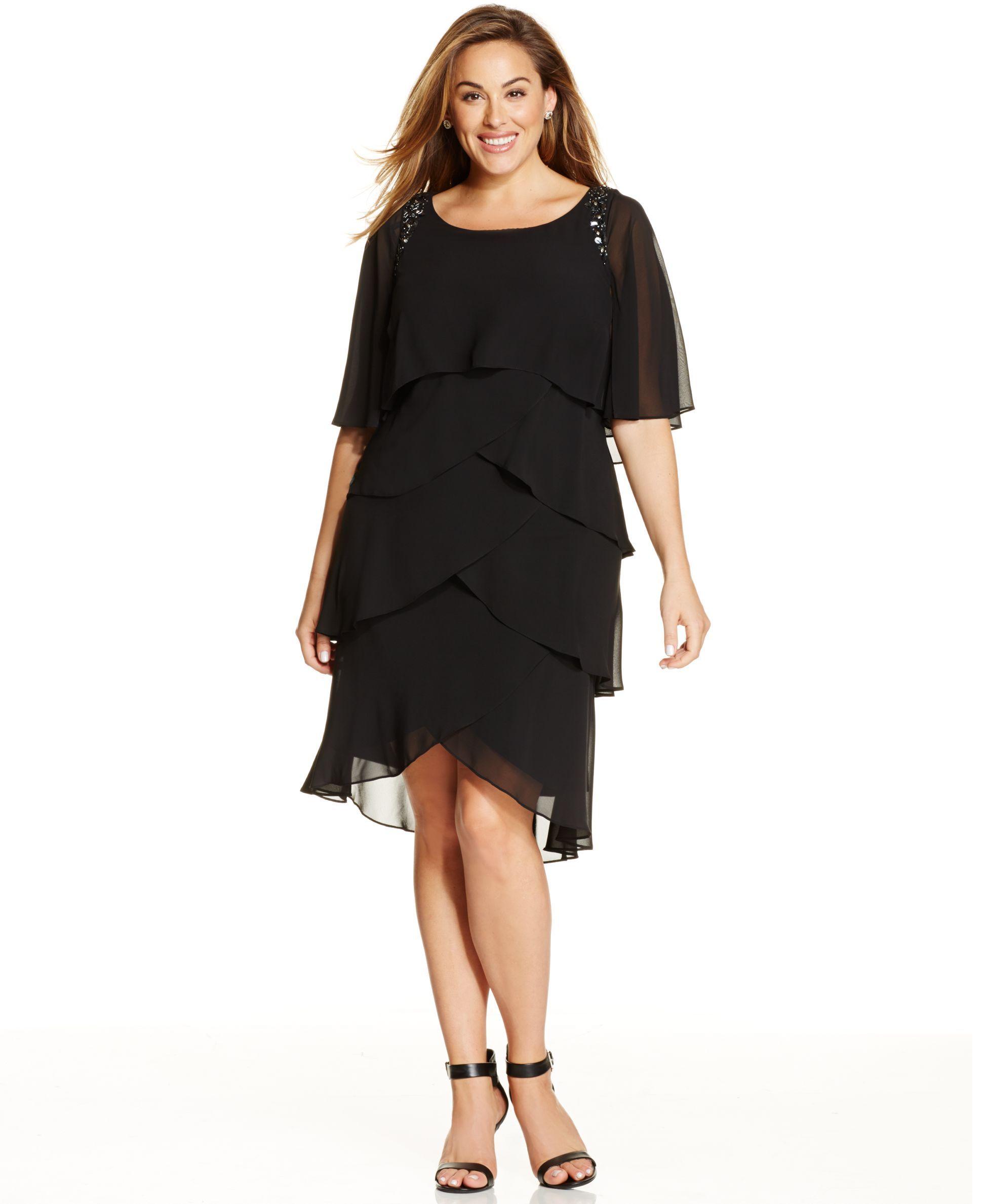 b56c2570f2f Sl Fashions Plus Size Beaded Tiered Shift Dress