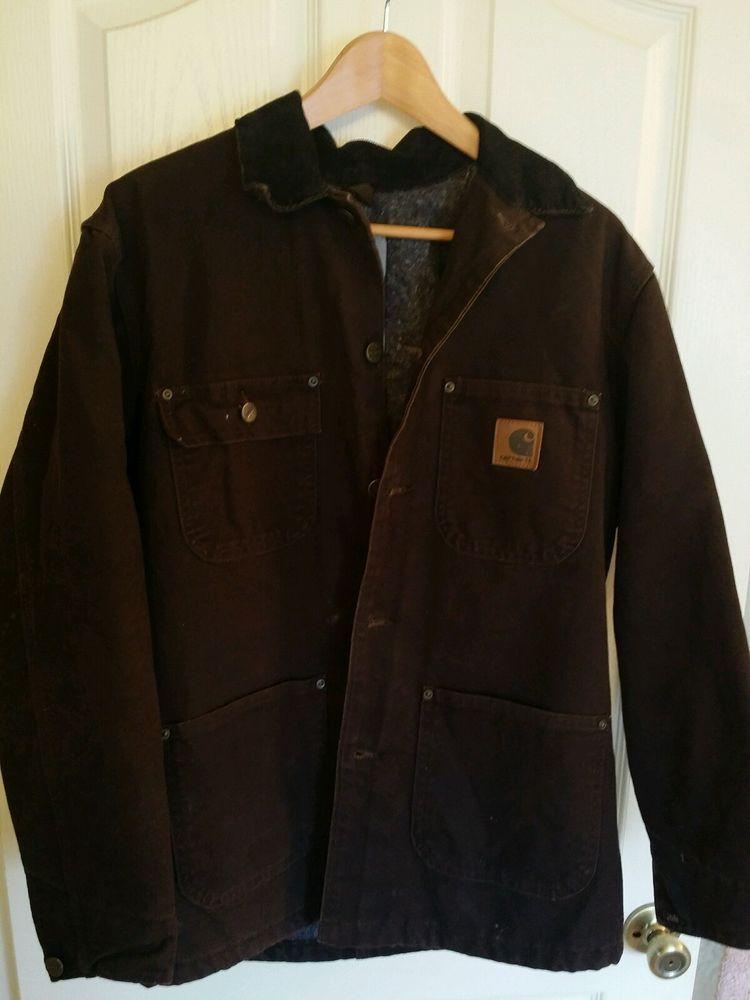 CARHARTT Men's WORK RUGGED 100% COTTON Button Down Brown Jacket ...