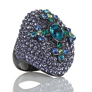 "AKKAD ""Eternal Glory"" Crystal Cross Hematite-Tone Dome Ring at HSN.com."