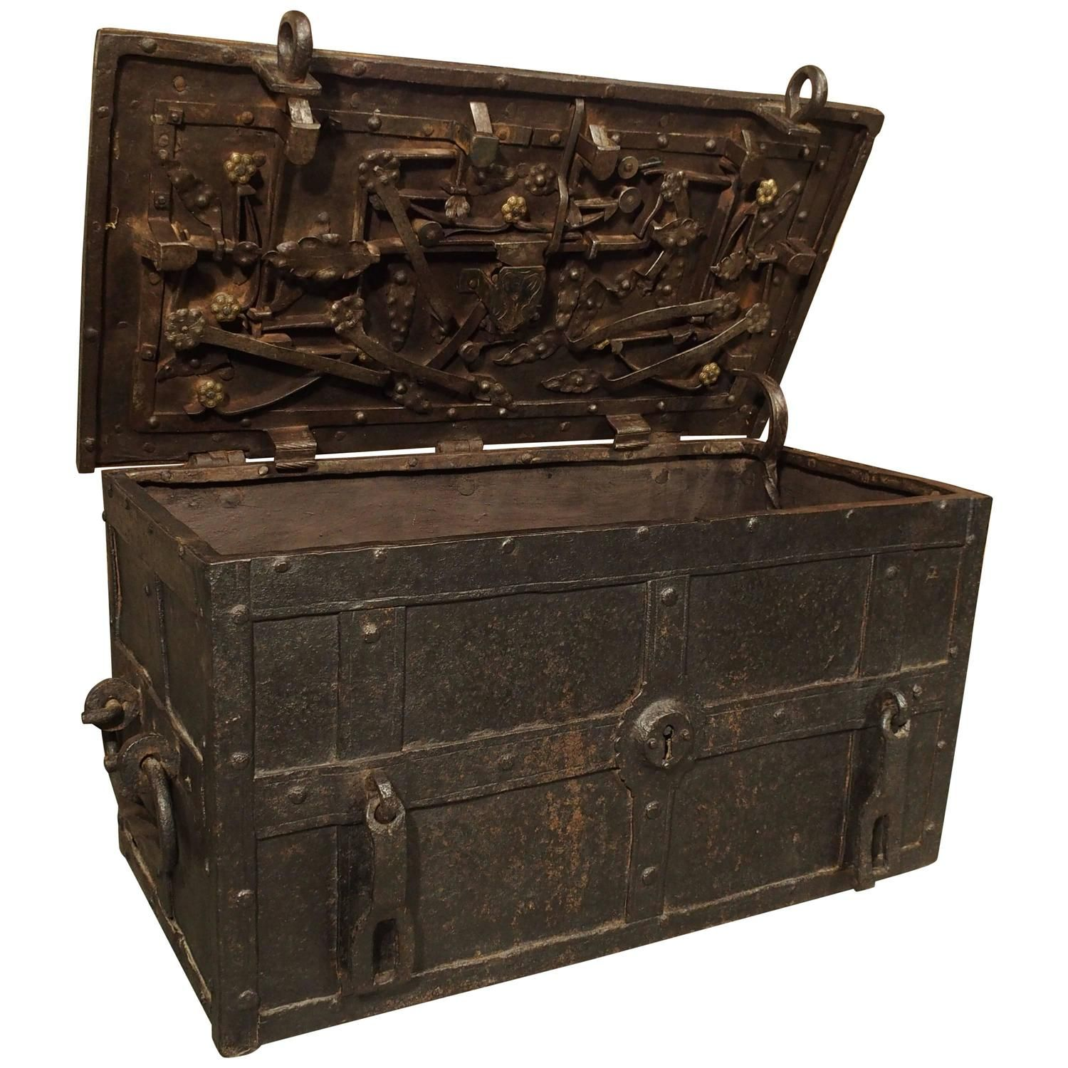17th Century Iron Strongbox From A Ship Strongbox Metal Chest Antique Trunk