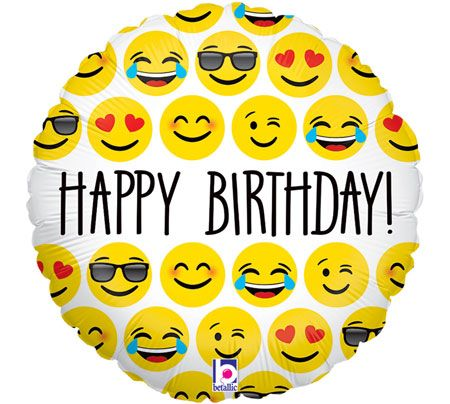 Happy Birthday Emoji Foil Balloons 11th Wishes