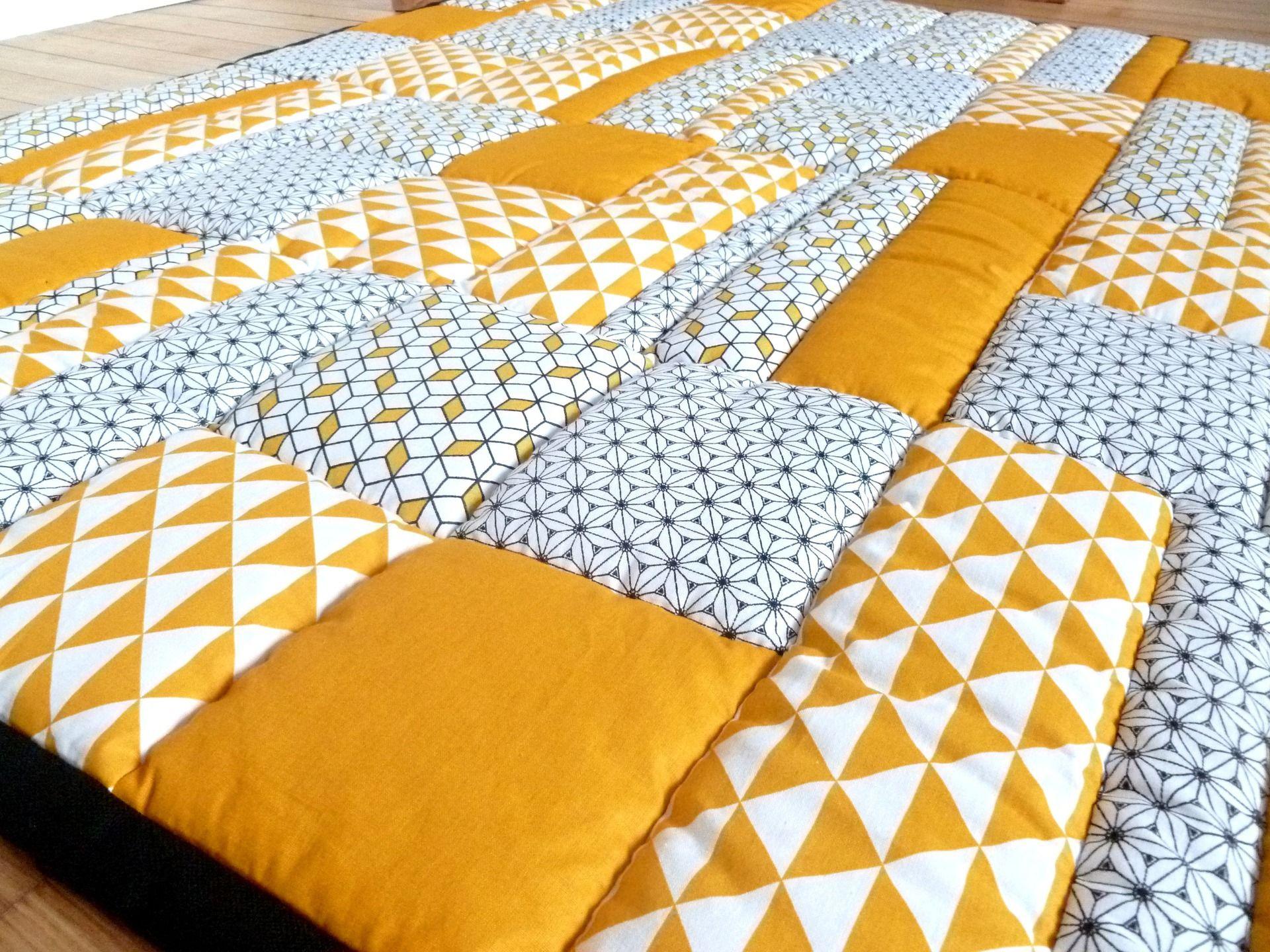 patchwork jaune gris tapis bebe