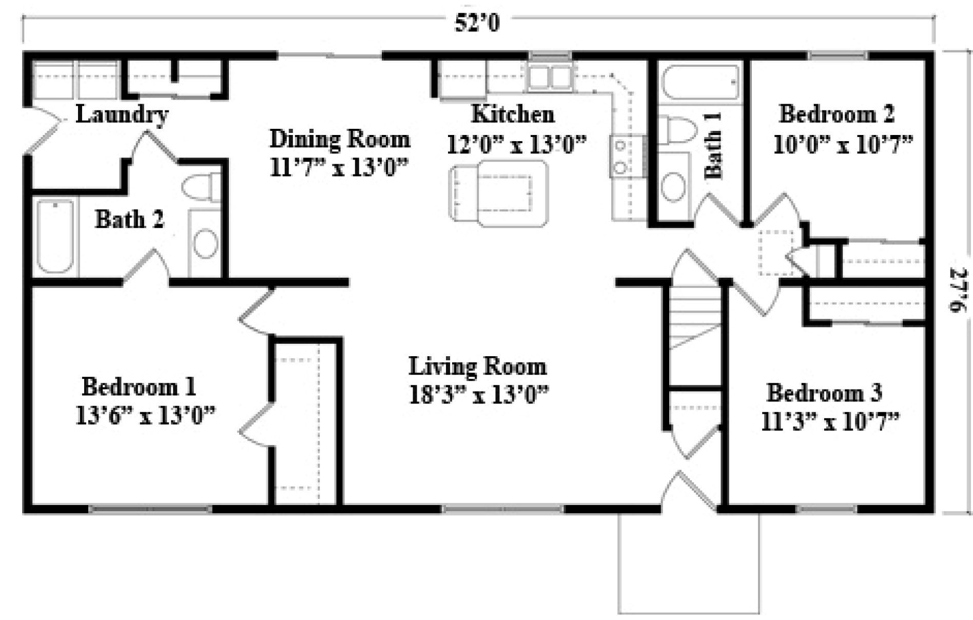 24 X 52 Ranch House Plans Click On A Picture To View A Larger Image Small House Floor Plans Tiny House Plans House Plans