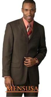 SKU# SAH288 chocolate brown 3 Buttons Men's premeier quality italian fabric Suits 100% Wool $149