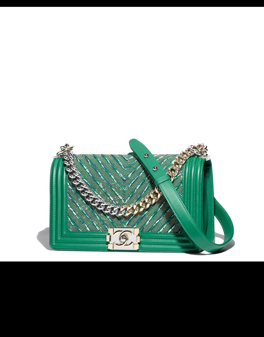 65b326318 Bolsa BOY CHANEL, couro de novilho, correntes, tweed, metal prateado &  metal dourado-verde - CHANEL