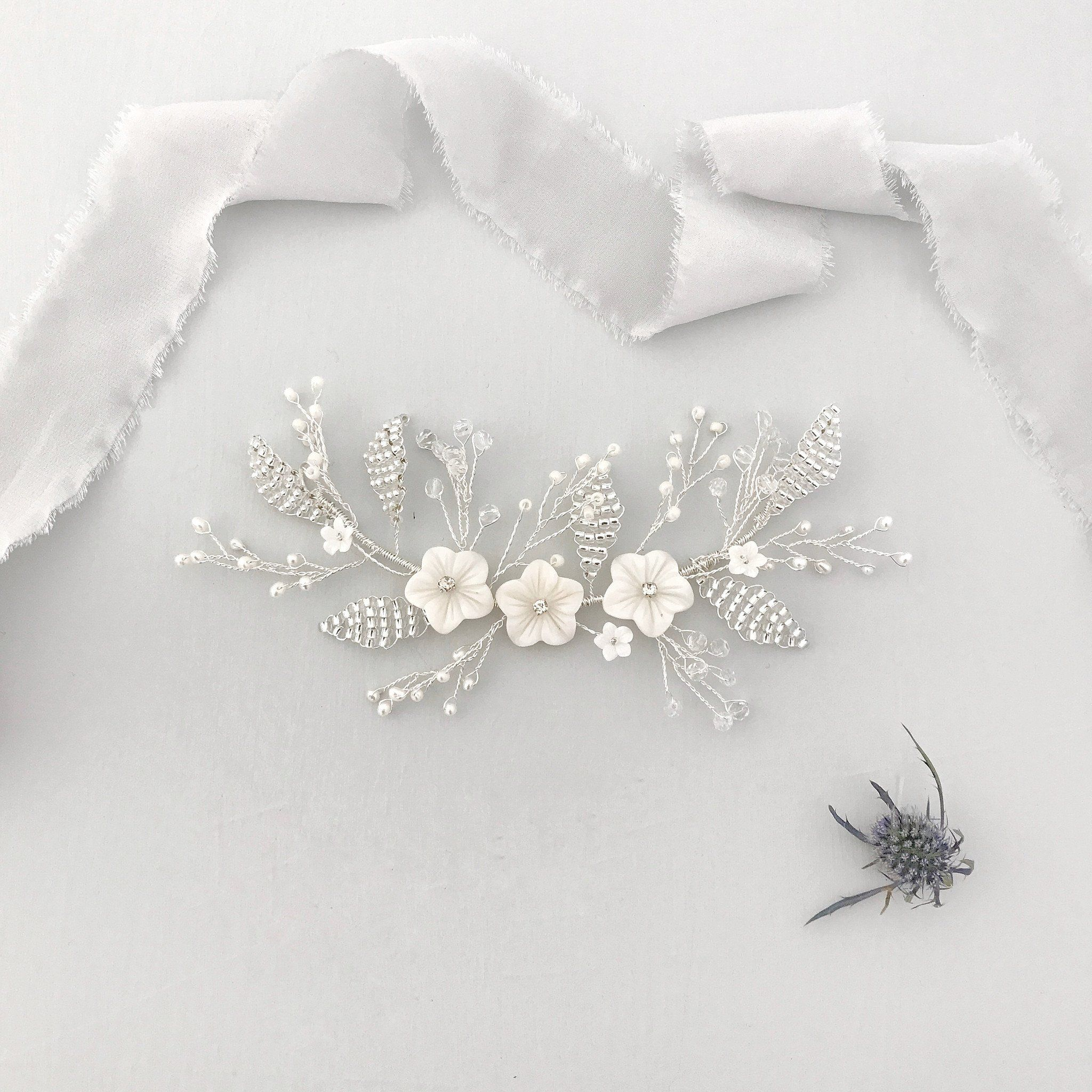 New* Silver mother of pearl floral wedding hair vine - \'Elvie ...