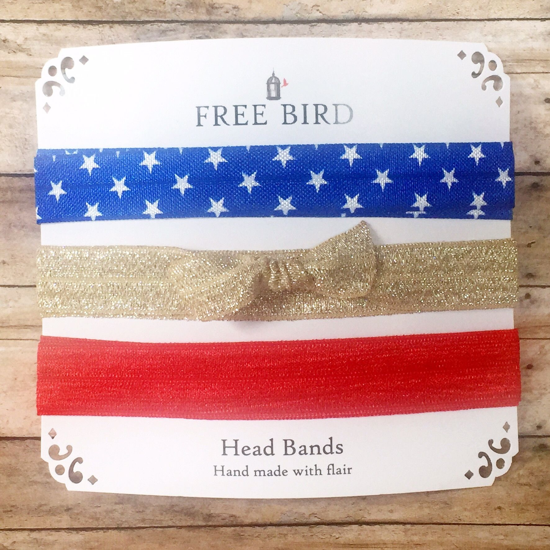 Free Bird Red White & Bling Head Bands Red and white