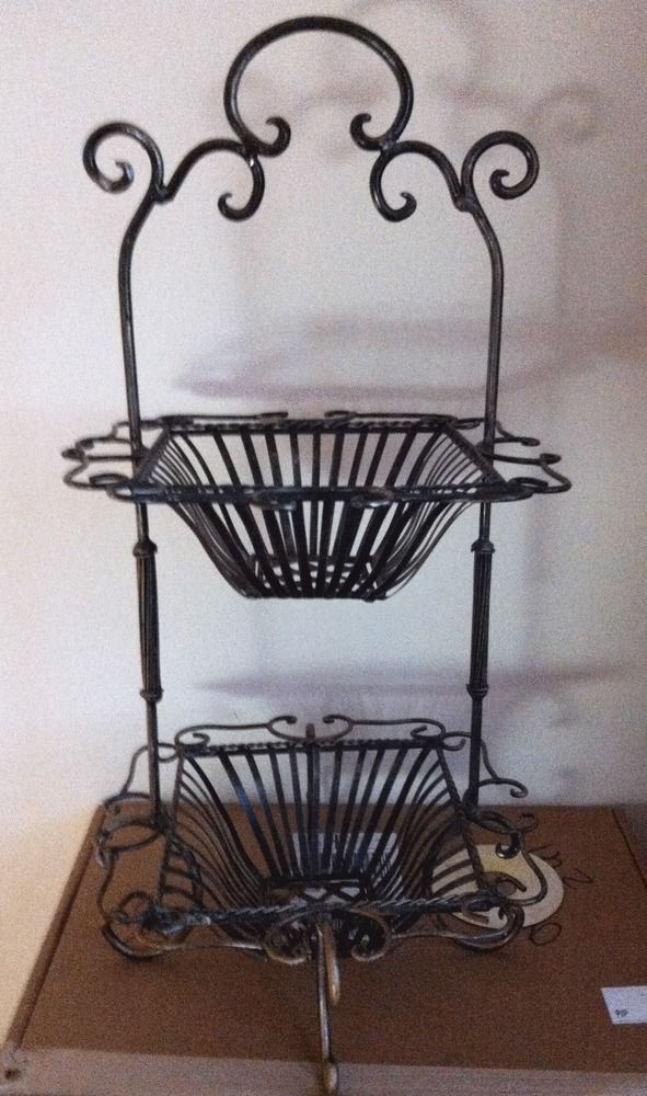 2 Tier Metal Fruit Basket Stand Tray Kitchen Crafts Brown Tuscan Decorating Kitchen Crafts Tuscany Decor