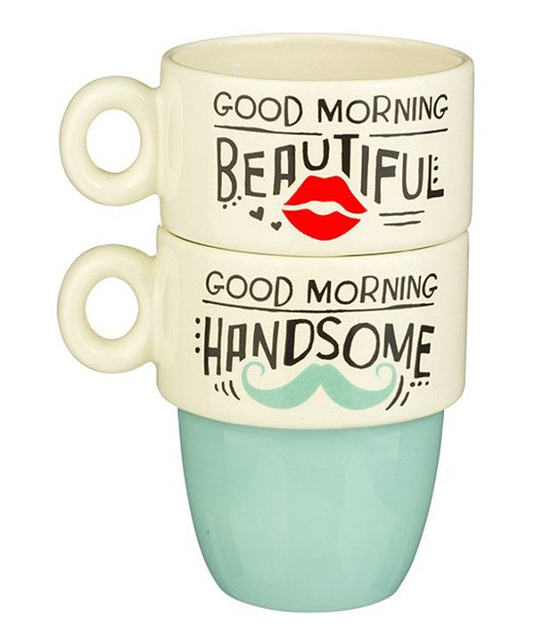 Look at this Two-Piece 'Good Morning' Stacked Mug Set on #zulily today!
