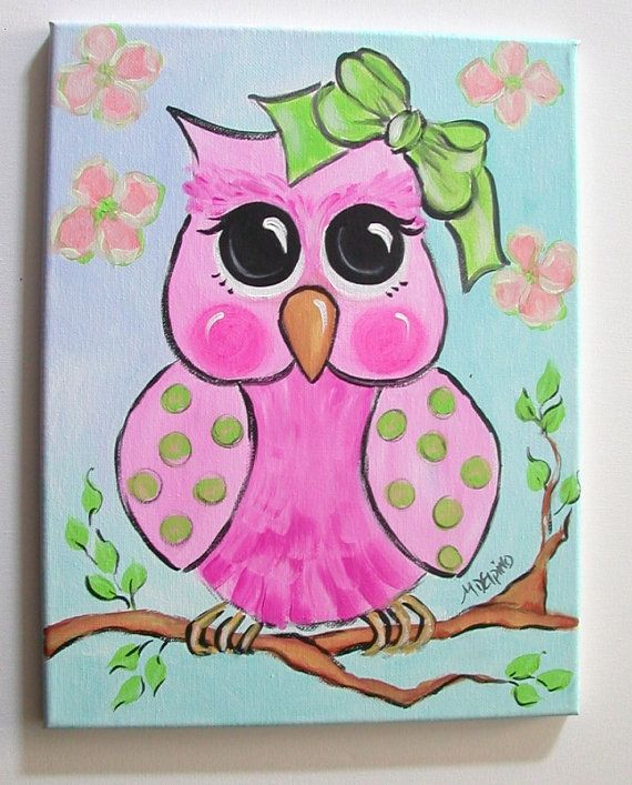 Cute Owl Painting For Kids Art Canvas