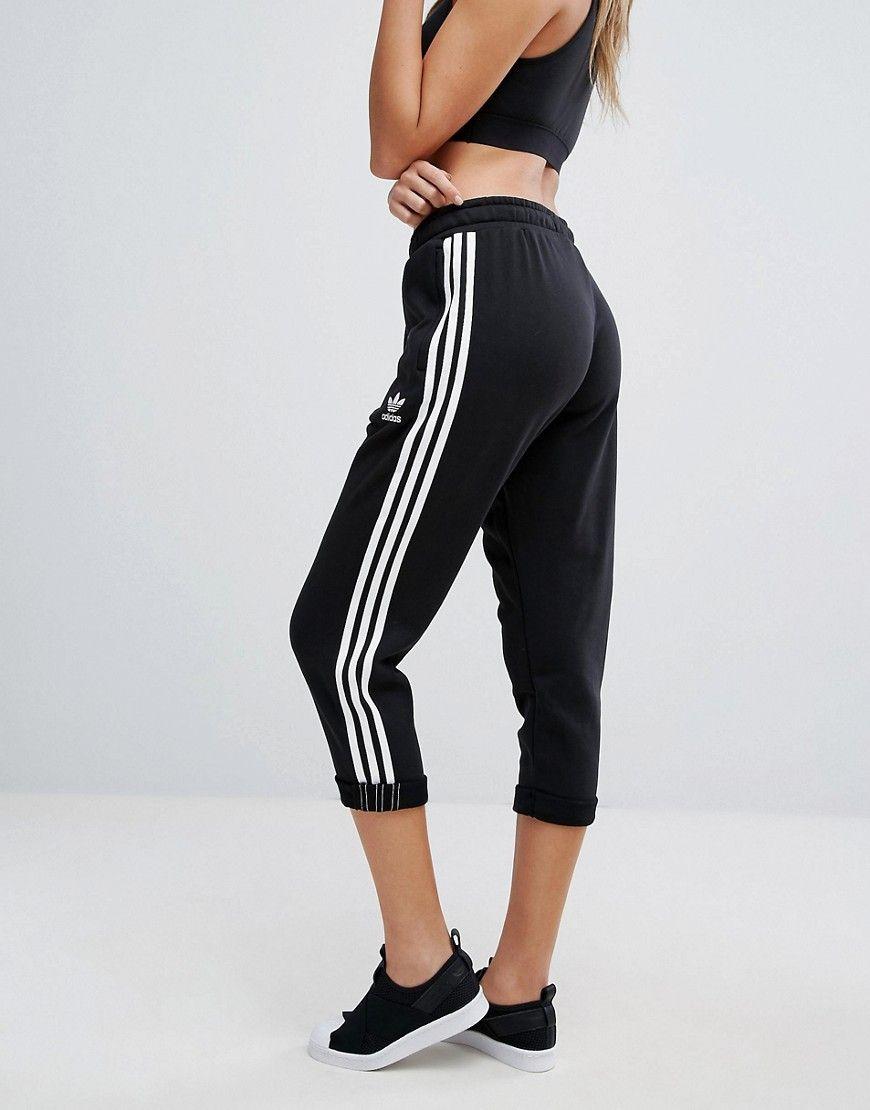 adidas Originals Black Three Stripe Cropped Sweatpants With Roll Hem ... 3b627b34d7