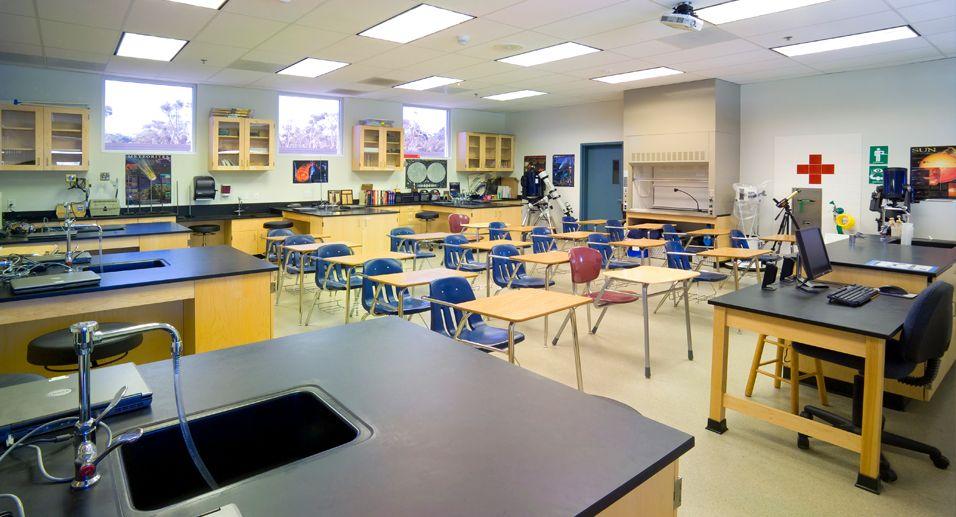 Laboratorio escolar y sala de clase.