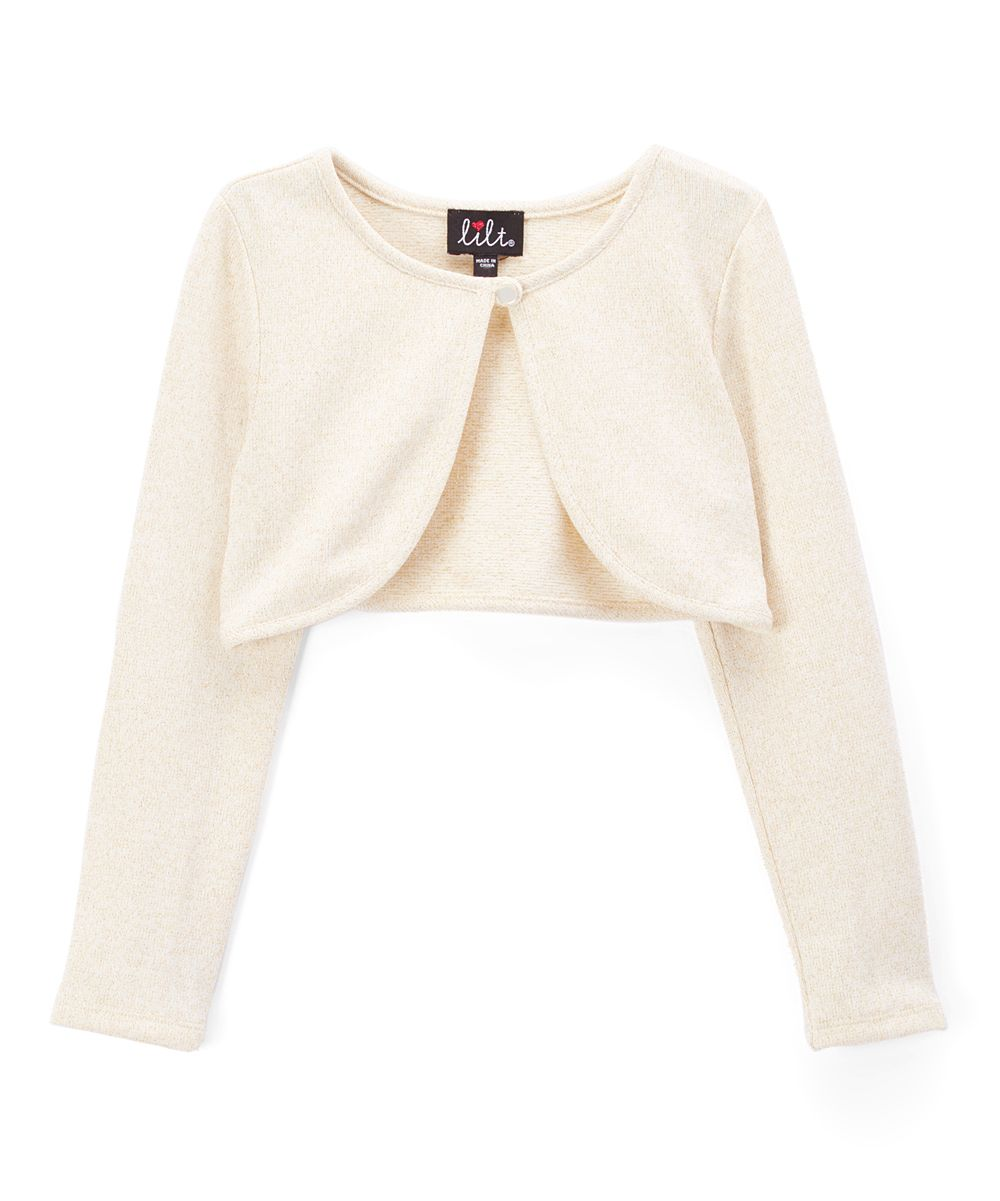 Ivory & Gold Curved-Hem Cardigan - Toddler & Girls | Toddlers ...
