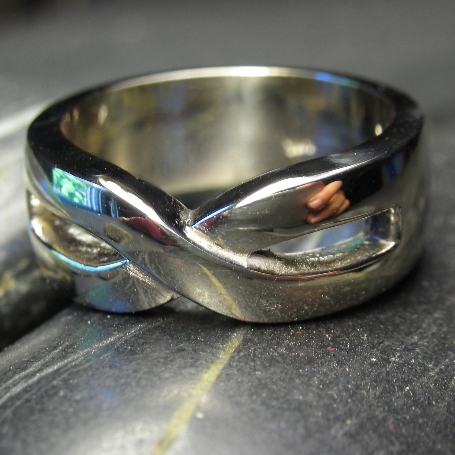 Men Infinity wedding band in Sterling silver Infinity