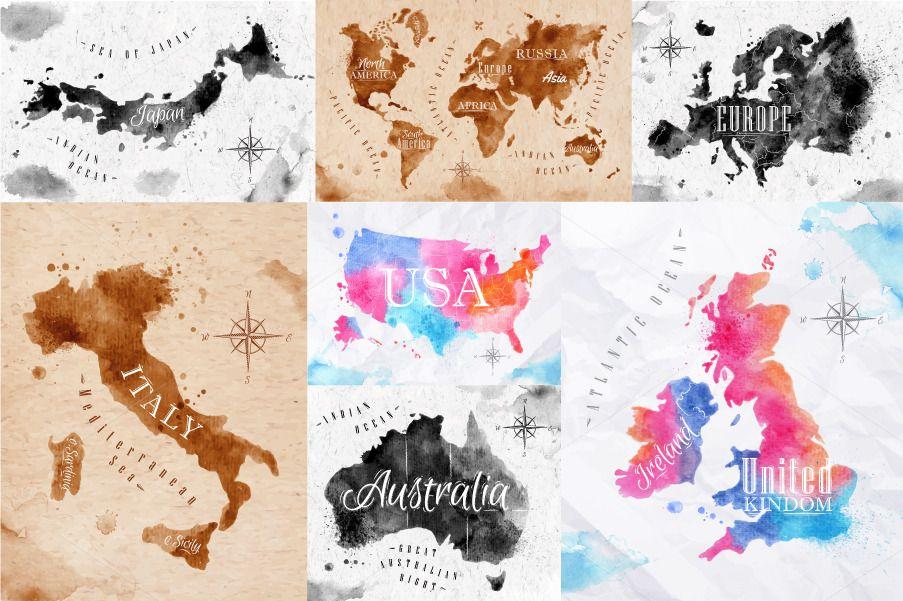 Watercolor world map watercolor vector format and anna watercolor world map gumiabroncs Image collections