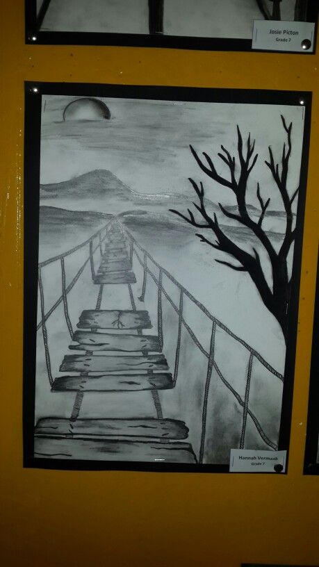 grade 7 charcoal and pencil one point perspective drawing by hannah vermaak