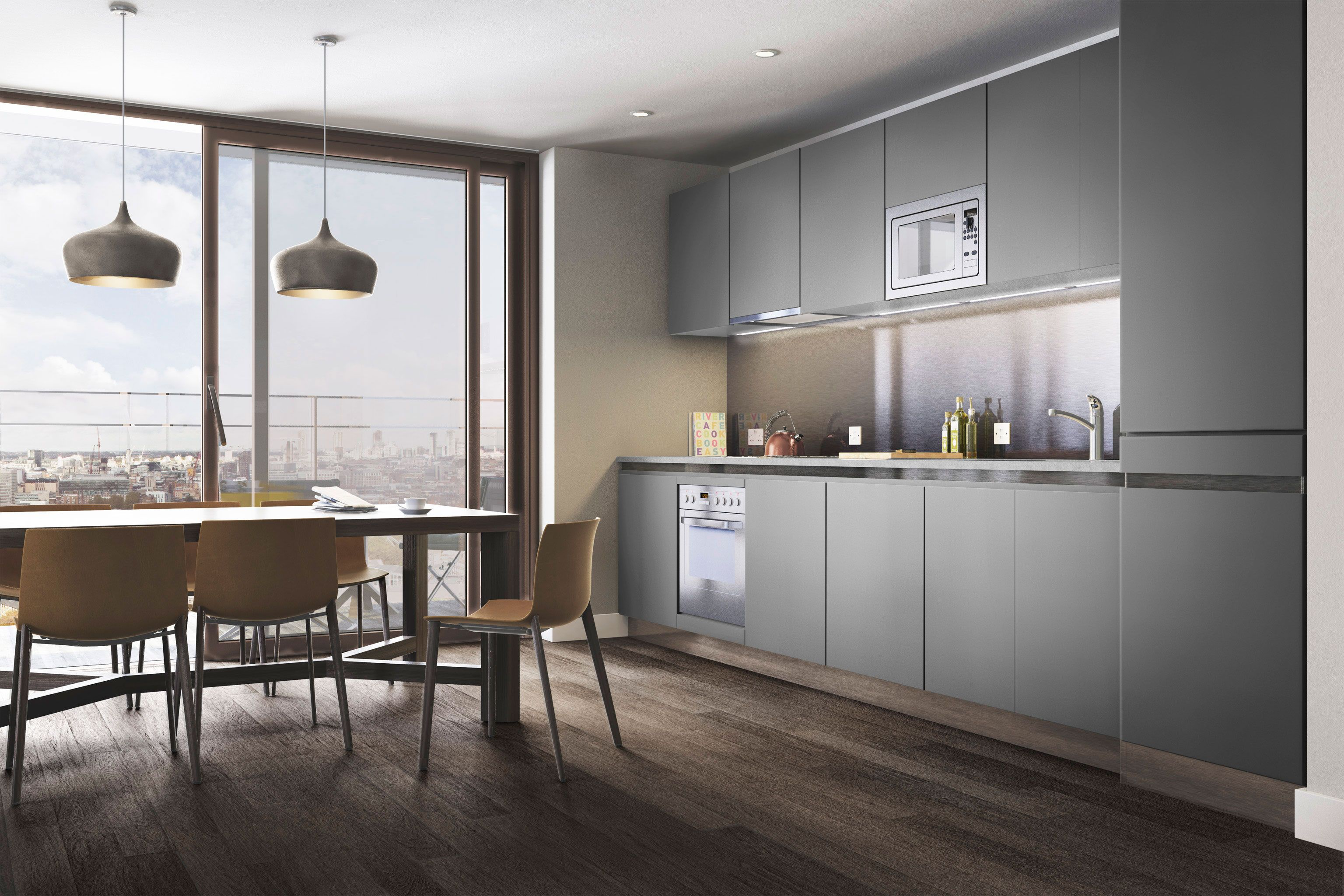 Modern Grey Kitchen Cabinets And Dining Ares And Pendants Tara Bernerd Partners One The Elephant Grey Kitchens Kitchen Interior Modern Grey Kitchen