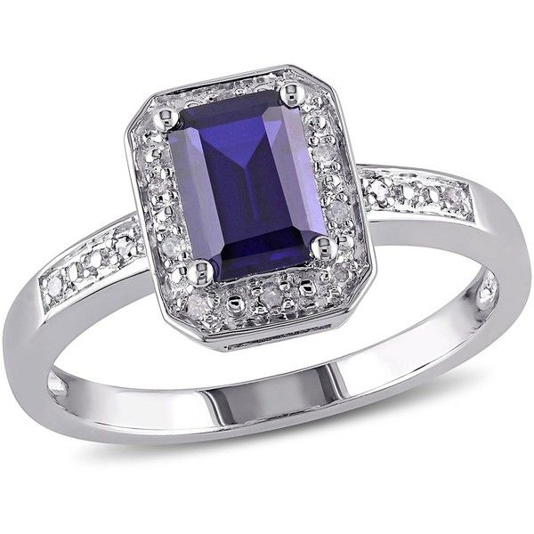 Delmar Sterling Silver Created Blue Sapphire & Diamond Ring ($35) ❤ liked on Polyvore featuring jewelry, rings, blue, blue ring, sterling silver diamond rings, blue sapphire ring, blue sterling silver rings and sterling silver rings