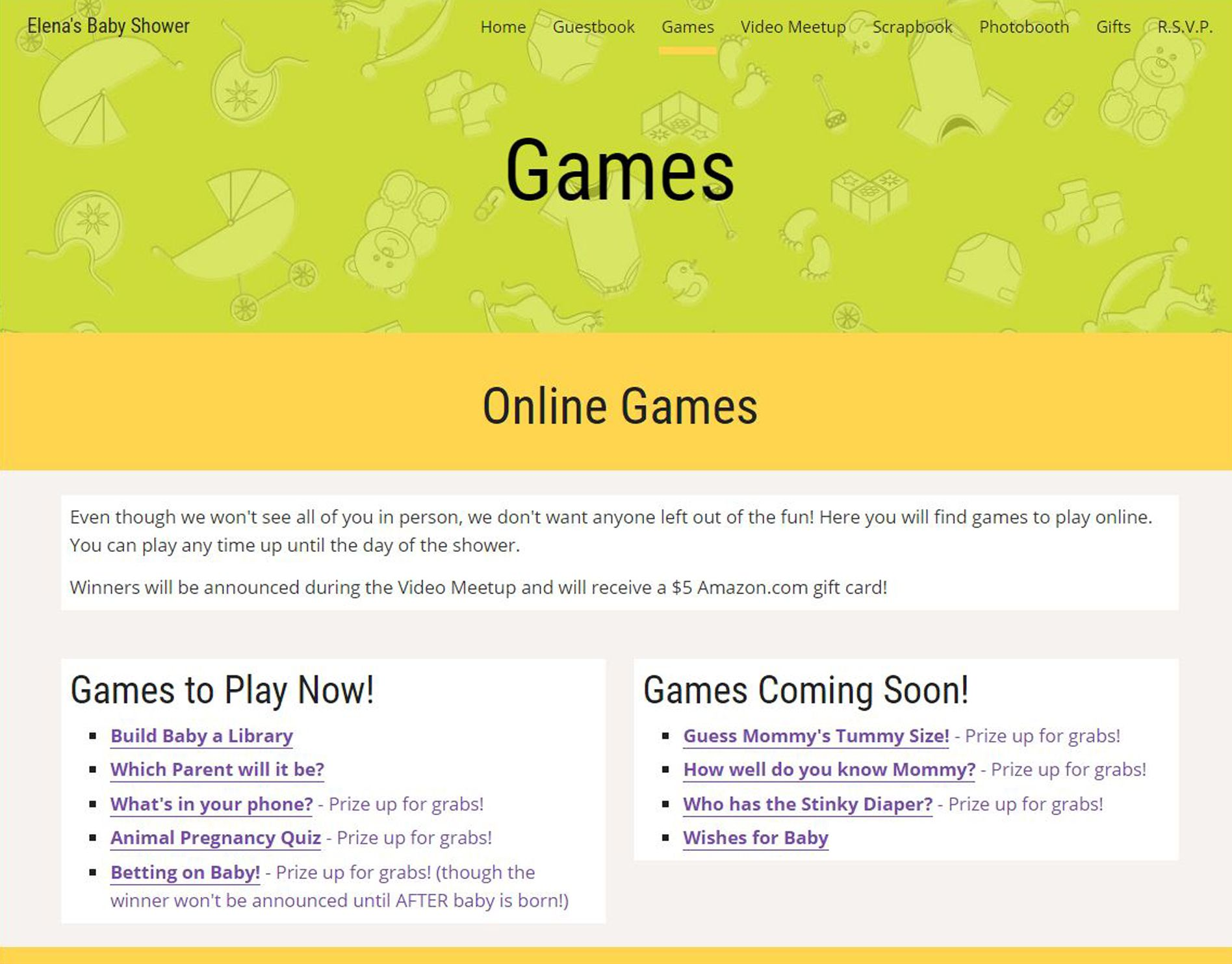 Exceptional Host A Virtual Baby Shower With Your Own Personalized Event Website! Guests  Can Play A Variety Of Online Games And Even Win Prizes If You Choose!