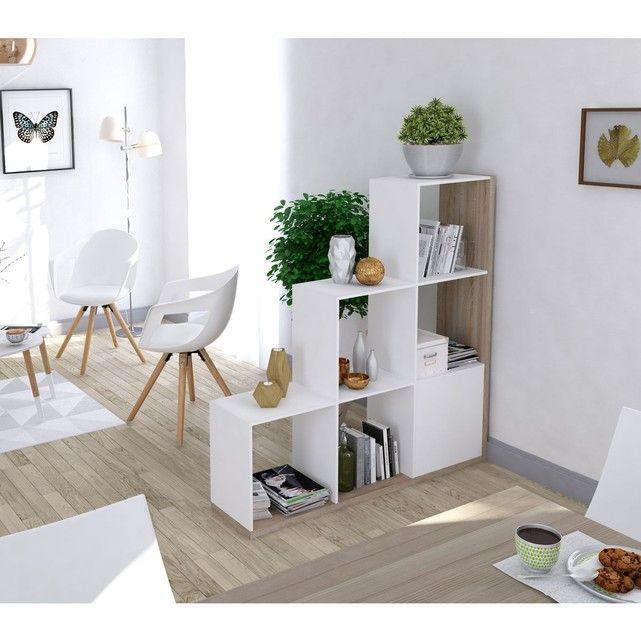 Bibliothèque escalier imitation chêne et blanc
