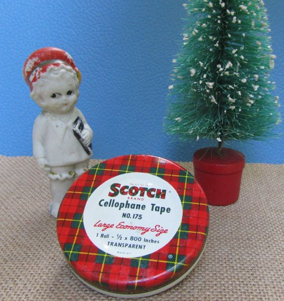 Red and Green Litho Tin Container Scotch by WillowValleyVintage