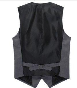 Buttoned Strap Tie Back Solid Vest Formal Boyfriend  V Neck Sleeveless Casual