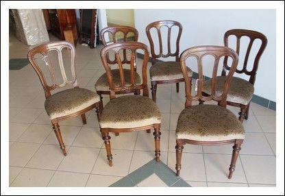 Sedie Antiquariato ~ Gruppo sei sedie noce massello lombarde luigi filippo. poltrone