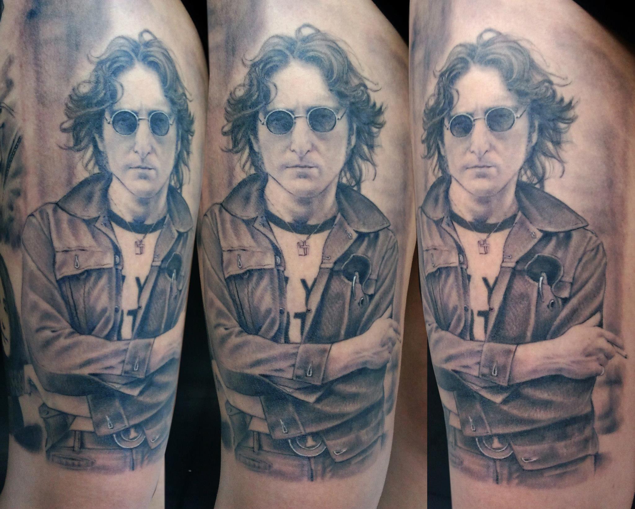 My Beautiful John Lennon Tattoo By Eduardo Reis Black And Grey Tattoos Beatles Tattoos Musician Tattoo