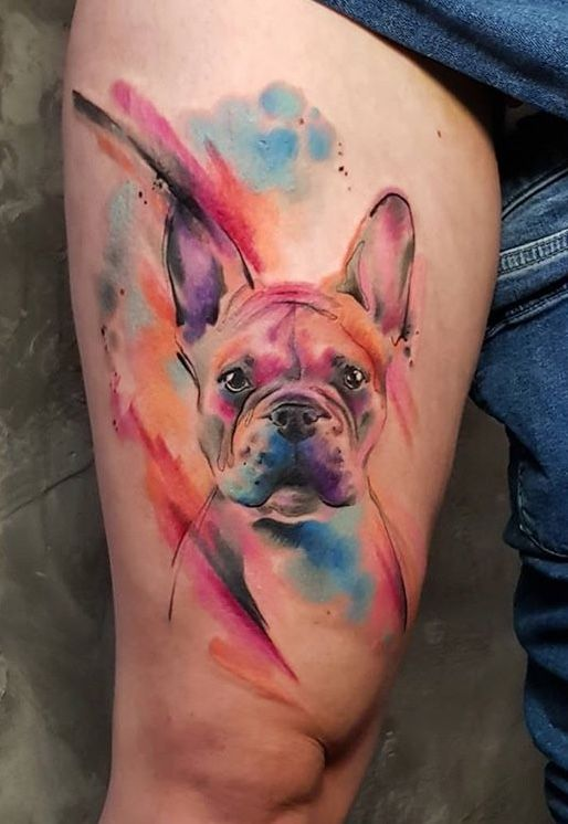 Simona Blanar Watercolor Dog Tattoo Dog Portrait Tattoo Dog