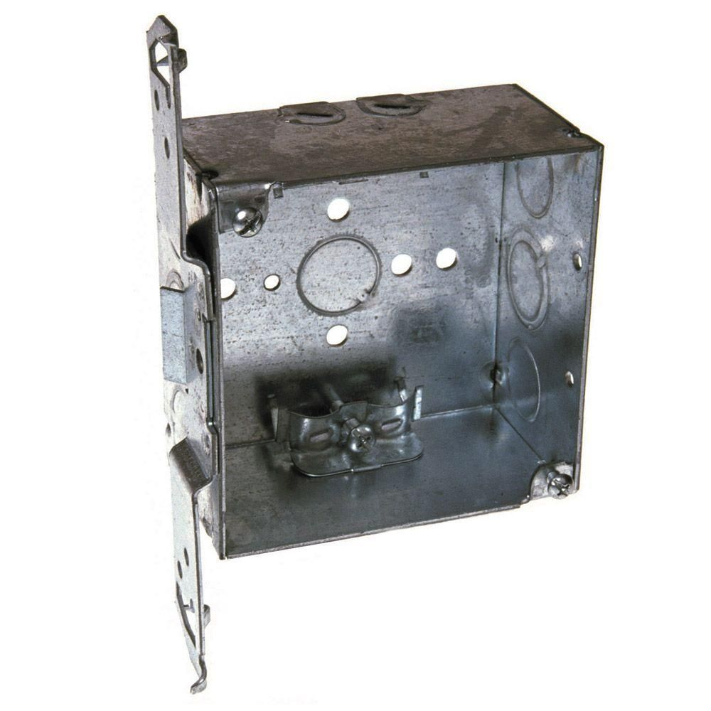 4 In Square Welded Box 2 1 8 Deep With Nmsc Clamps And Ts Bracket 25 Pack Clamps Home Depot Wall Boxes