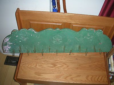 Antique-19th-Century-Primitive-Folk-Art-Wood-Game-Rack-Utensil-Rack-Iron-Hooks