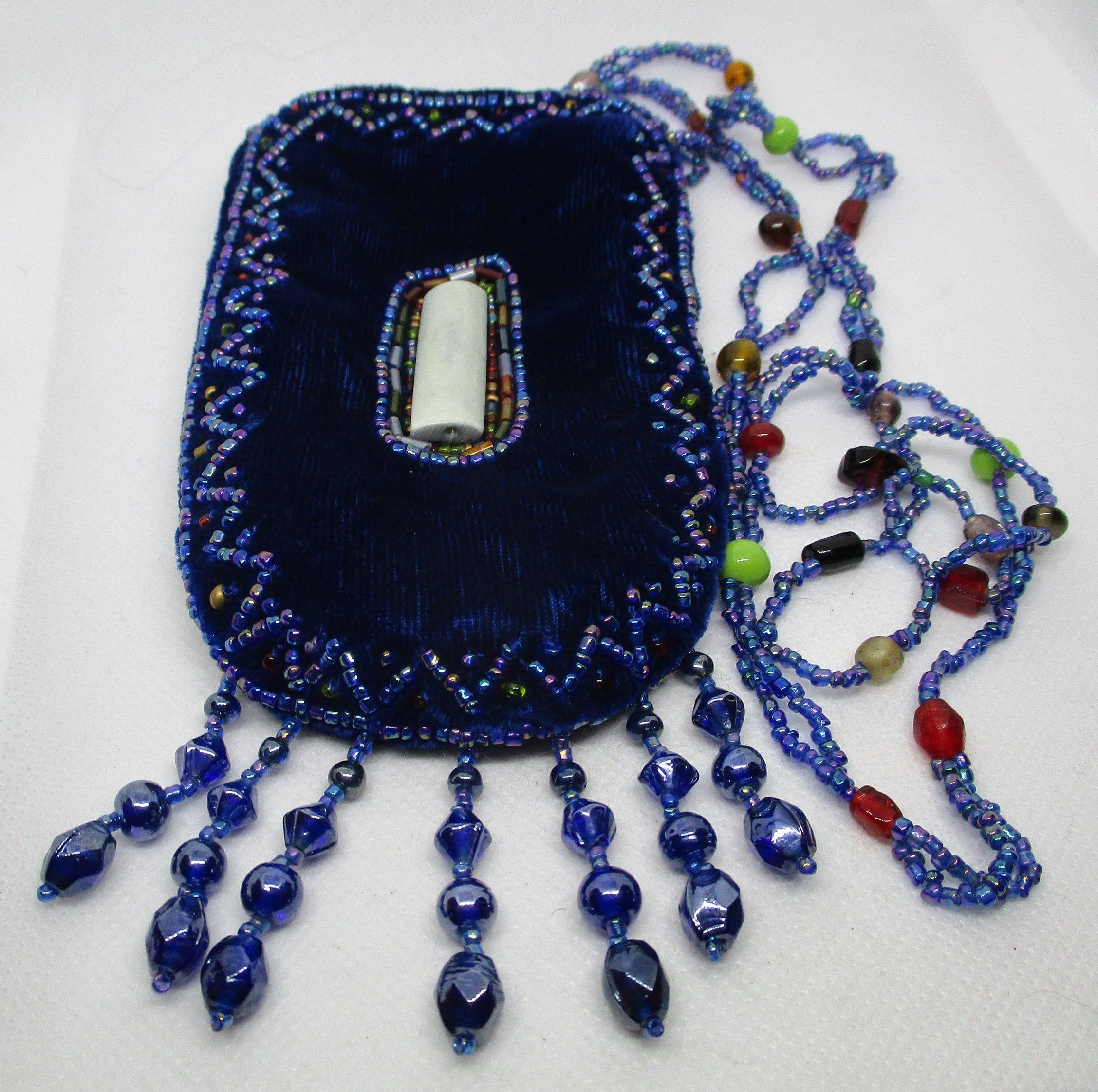 8 Blue Multi Color Seed Bead Clutch Wristlet with Strap