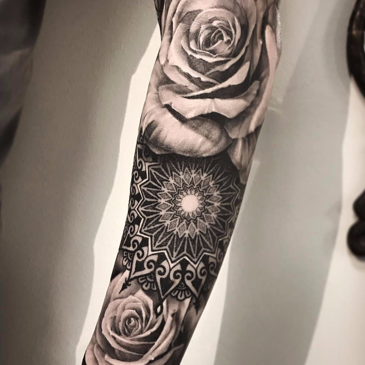 Realism And Ornamental By Andy Blanco Andyblanco Blackandgrey Realism Realistic Hyp Geometric Rose Tattoo Geometric Realism Tattoo Realistic Flower Tattoo