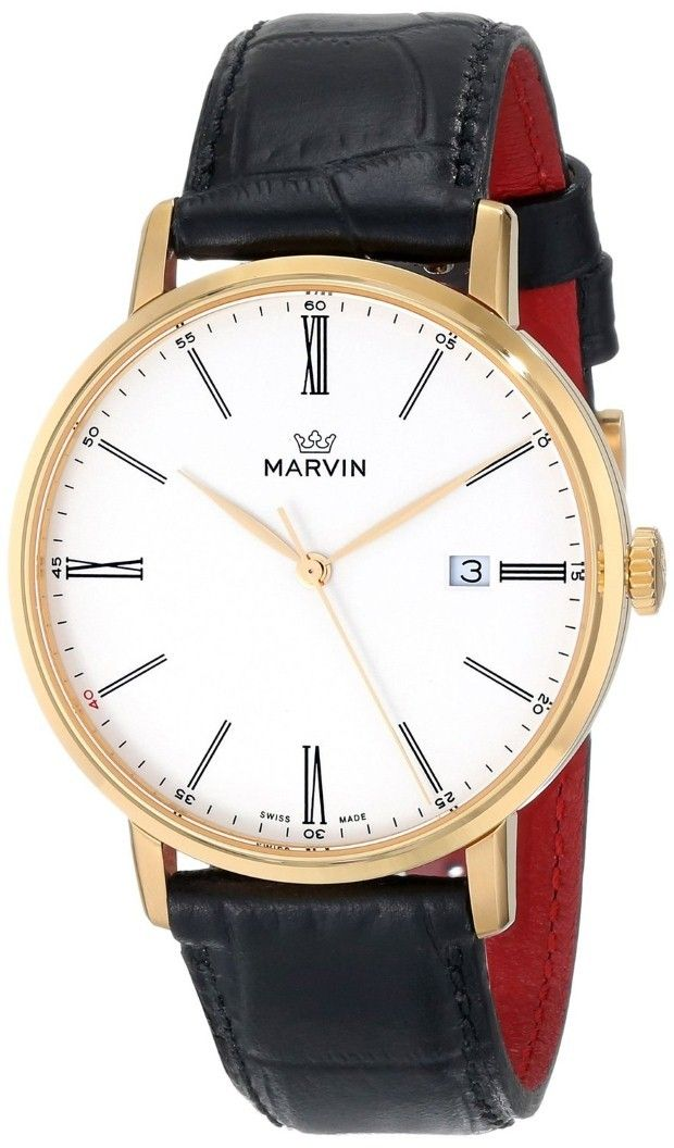 gold watches gold watches for men marvin gold watches gold men watches marvin men s origin white dial rose gold plated black crocodile print strap watch this watch is safely protected by the scratch resistantt