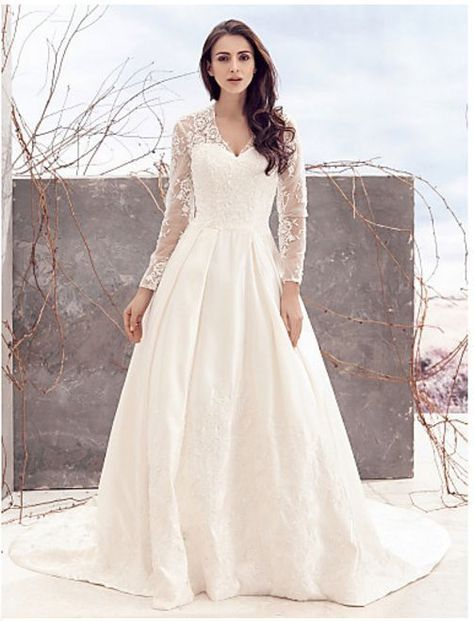 Plus Size Ling Sleeve Lace Boho Wedding A Line Dress