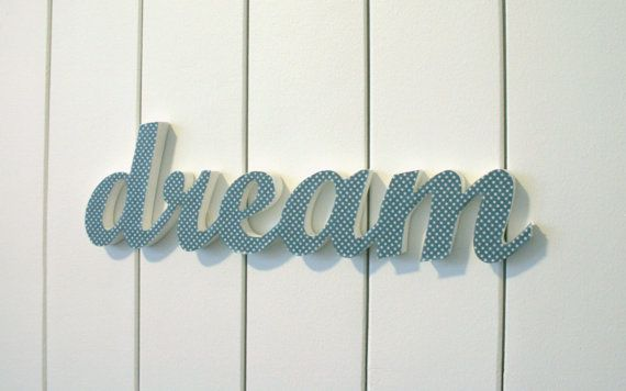 DREAM inspirational wood word, wall art, hanging or freestanding ...