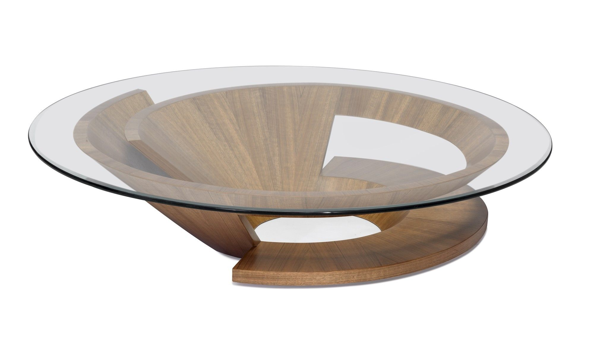 - Round Glass Top Coffee Table With Oak Base Design De Moveis