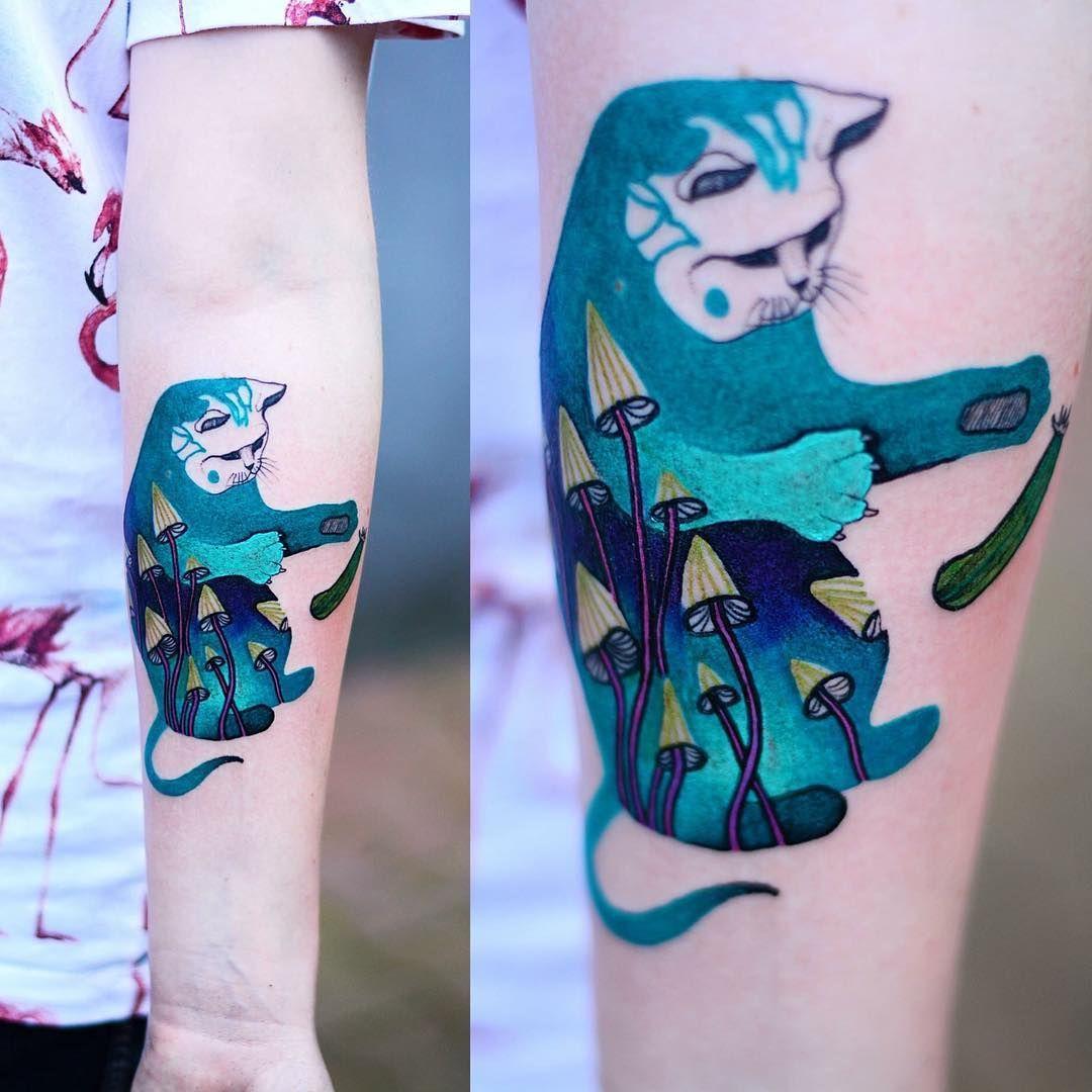 Grzybki Kot Tattoo Tatuaz Tattoowork Project