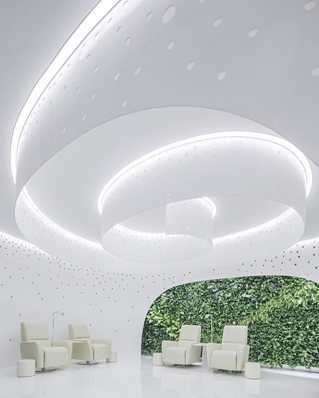 ArchStudio created created a relaxing, natural environment inside Lily Nails, a Beijing nail salon, which is illuminated by integrated LEDs on spiral steel plates. : Jin Weiqi. @sandow... - Interior Design Ideas, Interior Decor and Designs, Home Design Inspiration, Room Design Ideas, Interior Decorating, Furniture And Accessories