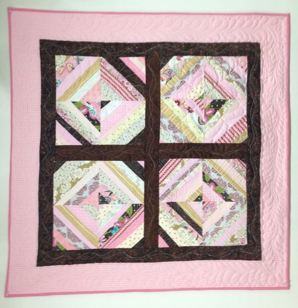 """Quilt pretty in pink wall hanging 38"""" square"""