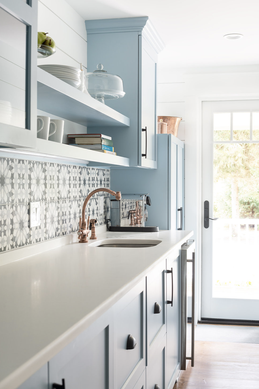 soft blue cabinets copper accents with images small space interior design kitchen design on kitchen interior small space id=85871