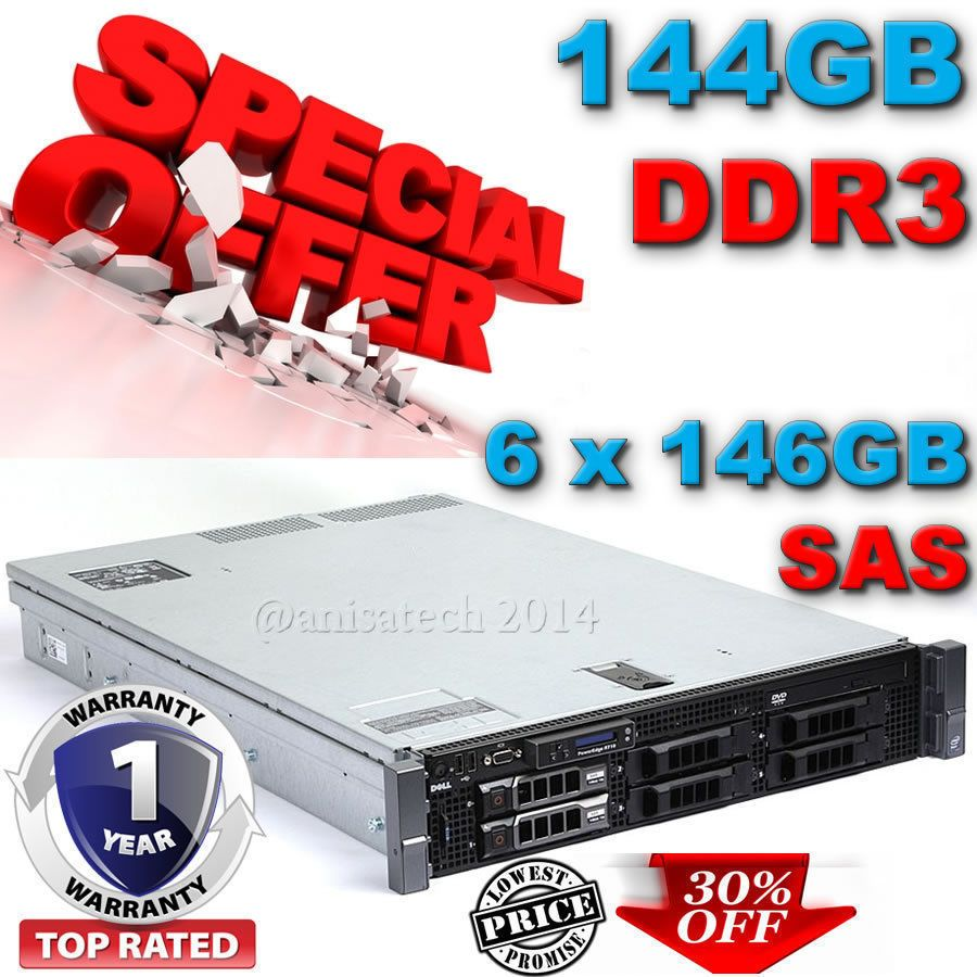 DELL POWEREDGE R710 Two xeon X5570 2 93Ghz 144GB DDR3 6x146GB SAS