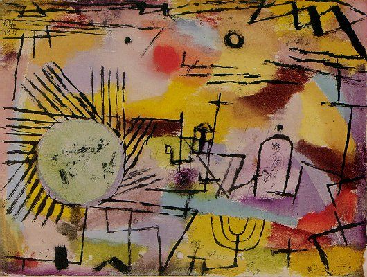 """""""Rising Sun"""". Artist: Paul Klee (1879-1940).  Completion Date: 1907.  Style: Expressionism.  Period: Early Works.  Genre: cloudscape.  Dimensions: 30.46 x 24.36 cm."""